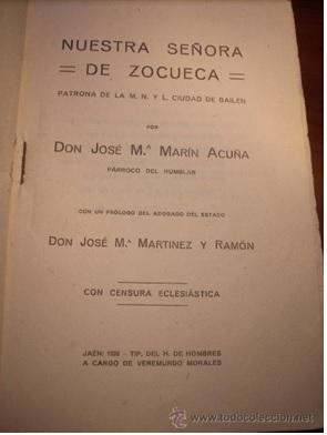 Ejemplar de la edición de 1923, en Jaén, del libro Nuestra Señora de Zocueca, de don José María Marín Acuña.