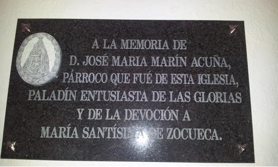 Placa conmemorativa en el Santuario de Zocueca.