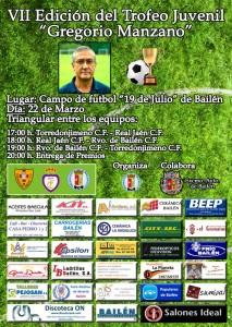 """Cartel Oficial del VII Trofeo de Fútbol Juvenil """"Gregorio Manzano"""""""