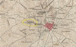 Batalla de Bailén, 19 de Julio de 1808, primer periodo (plano de 1858, Ministerio de Defensa, Biblioteca Virtual del Patrimonio Bibliográfico, detalle de LA CRUZ BLANCA).