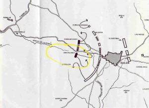 Croquis de la Batalla de Bailén durante el segundo asalto francés, sobre las 10:00 horas. Se observan los cerros y arroyos bailenenses en 1808. LA CRUZ BLANCA. (Croquis extraído del blog: http://lahiguerajaen.blogspot.com.es/2012/10/higuera-de-arjona-y-la-batalla-de-bailen.html).