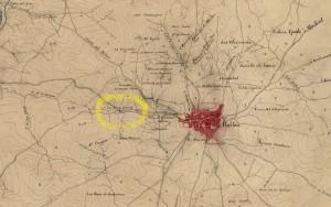 Plano del campo de la batalla de Bailén ocurrida el 19 de julio de 1808 (plano de 1848, Ministerio de Defensa, Biblioteca Virtual del Patrimonio Bibliográfico, detalle de LA CRUZ BLANCA).