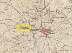 Plano del campo de la batalla de Bailén ocurrida el 19 de Julio de 1808 (1869-1901, Ministerio de Defensa, Biblioteca Virtual del Patrimonio Bibliográfico, detalle de LA CRUZ BLANCA).