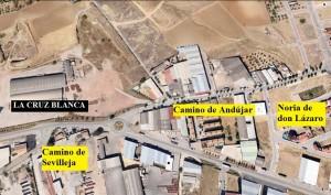 Localización aproximada de La Cruz Blanca siguiendo mapas de Google Earth.