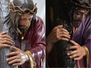 Montaje con Nuestro Padre Jesús sin restaurar (izq.) y restaurado (dcha.). Fotos: Escultor Sebastián Montes