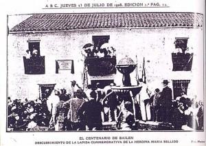 Inauguración de la Placa a María Bellido. ABC 23 de julio de 1908 (Programa de Fiestas de 2007). La Carrera. Calle María Bellido