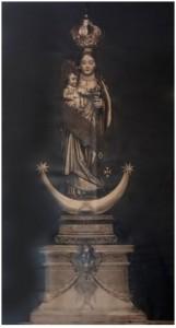 Imagen de Ntra. Sra. de Zocueca (destruida en 1936). Reproducción de José Mª García -Foto Narciso- de imagen facilitada por Miguel Antonio Sanz Jiménez.