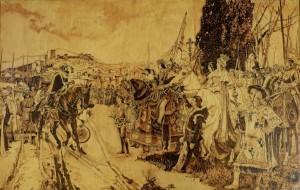La toma de Granada, pirograbado. Francisco Arias