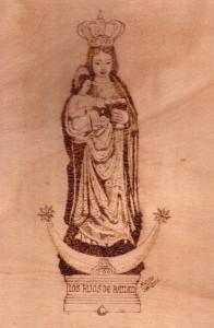 Virgen de Zocueca, pirograbado. Francisco Arias, 2013