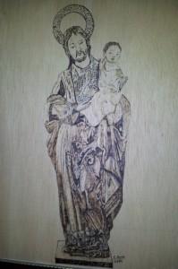San José Obrero, pirograbado. Francisco Arias, 2013. Se encuentra en el despacho de la parroquia homónima