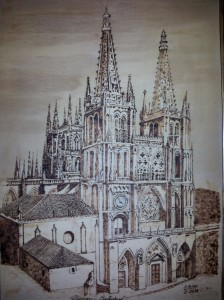 Catedral de Burgos, pirograbado. Francisco Arias