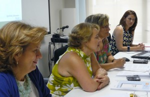 Teresa Vega, Simona Villar, Adoración Quesada y María del Mar Gálvez en la presentación.