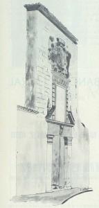 Casa Palacio. Dibujo de Francisco Arias en Programa de Fiestas de 1971.
