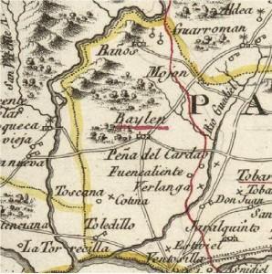 Detalle del Mapa Geográfico del Reyno de Jaen. Tomás López, 1787. Atlas Geográfico de España, con los enclaves de Berlanga, Cotina, La Toscana, Fuencaliente y Peñas del Cardao