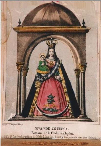 Grabado «Ntra. Sra. de Zocueca. Patrona de la Ciudad de Baylén», con su marco original