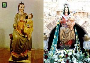 Antiquísima imagen, imperecederamente conservada, de Ntra. Sra. de Oreto-Zuqueca (Granátula de Calatrava), siglo XIII. A la derecha, con manto, Niño en brazo izquierdo y flor en mano derecha