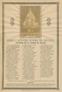 """""""Gozos a Ntra. Sra. de Zocueca"""", con la imagen del cuadro del Regimiento"""