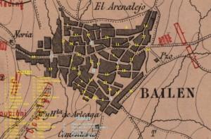 """Calles y plazas de Bailén en 1808, superpuestas sobre el plano titulado """"Batalla de Bailén. Primer periodo"""" (Biblioteca Virtual de Andalucía)."""