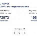 Un décimo del primer premio de la Lotería Nacional del jueves, vendido en Bailén