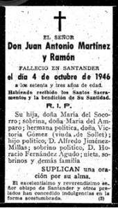 Esquela de Juan Antonio, hermano de José Mª Martínez y Ramón.