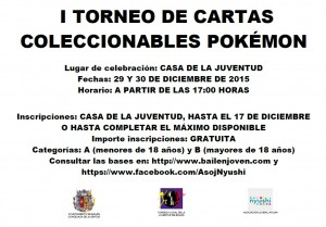 Cartel Torneo cartas Pokémon