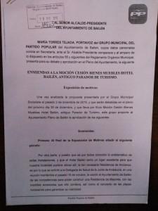 Enmienda presentada por el PP sobre el Hotel Bailén