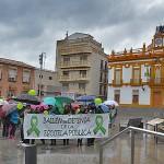 Lluvia y globos verdes en la marcha por la educación pública