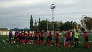 Saludo del Recre y Arjonilla antes del inicio del partido. Foto: alberoymikasa.com